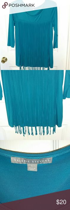 Valerie Stevens fringe blouse EUC Great with leggings or jeans! 3 quarter length sleeves. Stylish fringe on front of blouse. Beautiful turquoise color! Valerie Stevens Tops Blouses