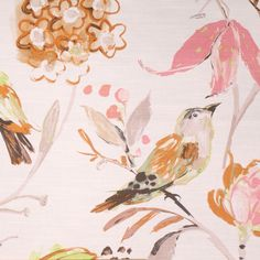 This is a multi pink, brown and gray floral and bird design linen blend drapery fabric, suitable for any decor in the home or office.  Perfect for pillows, drapes and bedding.