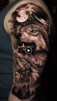 Tattoos Discover 50 Of The Most Beautiful Wolf Tattoo Designs The Internet Has Ever Seen Wolf Girl Tattoos, Wolf Tattoos For Women, Tattoos For Guys, Lion Tattoo Sleeves, Nature Tattoo Sleeve, Nature Tattoos, Wolf Tattoo Design, Tattoo Designs, Wolf Sleeve