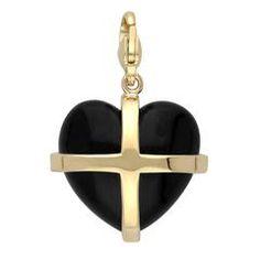 Sterling Silver Whitby Jet Large Cross Heart Charm, In Stock. Heart Jewelry, Heart Earrings, Fine Jewelry, Jet Stone, Cross Heart, Sterling Silver Cross, Cross Designs, Jewelry Packaging, Contemporary Jewellery