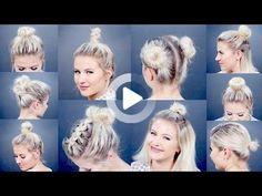 10 Different Hairstyles for Short Hair: Bun Edition! - Blissed Hub 10 Different Hairstyles for Short Hair: Bun Edition! Messy Bun For Short Hair, Really Short Hair, Short Hair Styles Easy, Braids For Short Hair, Medium Hair Styles, Curly Hair Styles, Bun Styles, Messy Buns, Easy Hair Buns