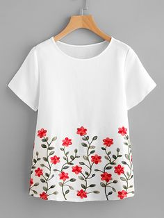 SheIn offers Flower Embroidery Short Sleeve Top & more to fit your fashionable needs. Fabric Paint Shirt, Fabric Painting On Clothes, Paint Shirts, Dress Painting, T Shirt Painting, Painted Clothes, Embroidery On Clothes, Embroidery Suits, Embroidered Clothes