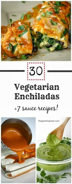 30 vegetarian enchilada recipes + 7 homemade sauces #MeatlessMonday #Mexican