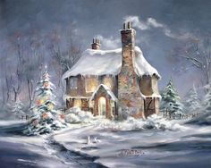 """Bell Cottage Christmas"" painting by Marty Bell"