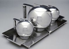 vintage Art Deco coffee set in silver, designed by Paul A. Lobel, 1934