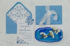 Something blue for your wedding stationery - blue envelope, silk ribbon, wax seal, gentle blue sketches and fonts, envelope liner for a complete look. Blue Wedding Invitations, Wedding Invitation Design, Wedding Stationery, Blue Envelopes, Envelope Liners, Wax Seals, Something Blue, Silk Ribbon, Personalized Wedding