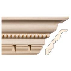 Embellished Hardwood Mouldings, Ornamentally Embossed Mouldings, Cornice Mouldings, Bead with Dentil, 5 3/16'' x 13/16'' - White River