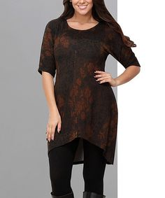 This Brown Floral Hi-Low Tunic - Plus is perfect! #zulilyfinds