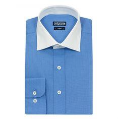 Chemise coupe cintrée col blanc en Fil à Fil bleu #chemise