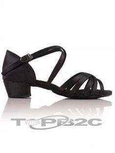 Nice soie noire 2'' haut talon Ladies Latin Shoes      Groupe: Femme     Occasion: Danse latine     Hauteur de Talon: 5cm     Type de Talon: Bobine     Bout de Chaussures: Ouvert     Couleur affichée: Noir     Poids: 1kg