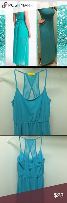 👗Nordstrom sea foam half sheer maxi dress 👗 Beautiful sea foam green maxi dress from Nordstrom. Keyhole back cutout detail with spaghetti strap scoop front neck. Cinching at waist. Fully lined dress with half sheer bottom. Super feminine and graceful flair to this eye catching dress. Tags were removed but dress was NEVER worn! 100% polyester lining and 100%polyester dress. Size XS Dee Elle Dresses Maxi