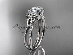 platinum diamond celtic trinity knot wedding ring, engagement ring CT7155