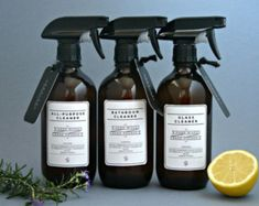 This classic set of 3 amber glass spray cleaning bottles looks even MORE… Homemade Glass Cleaner, Home Spray, Plastic Spray Bottle, Amber Glass Bottles, Perfume, Natural Cleaners, Bottle Packaging, Diy Cleaning Products, Bottle Design