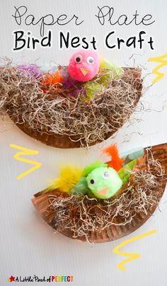 Preschool Paper Plate Bird Nest Craft the Kids will Cheep About: Perfect for learning about birds, eggs, baby animals, spring - Preschool Children Activities Spring Activities, Craft Activities, Spanish Activities, Kindergarten Activities, Paper Plate Crafts, Paper Plates, Paper Cups, Spring Crafts For Kids, Art For Kids