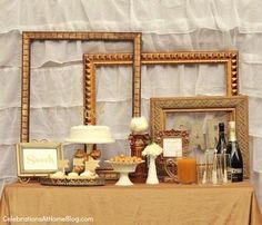 golden dessert table- gold frames for backdrop