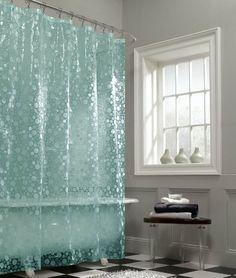 Maytex Mills Fun Bubbles PEVA Vinyl Shower Curtain Aqua Silver Bathroom White