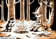 More Moomin stuff. Snufkin and Ti-ti-uu. | By Marko Raassina.