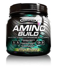 MuscleTech Amino Build Powder, Strength-Enhancing BCAA Formula, White Grape, 0.58 lbs (261g) *** Click image to review more details.