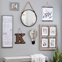 Mix and match all types of wall decor for an eclectic gallery wall. Hang your favorite wall quotes next to pictures of your family, with an interesting mirror and your favorite monogram. Style it however you want!