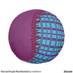 Teal and Purple Plaid Baseball