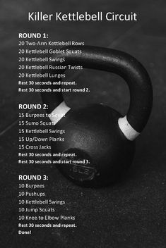 Few pieces of equipment are more effective than the kettlebell. With just a kettlebell, you can get a full workout. This killer kettlebell circuit will Crossfit Workouts At Home, Wod Workout, Tabata Workouts, Workout Challenge, Full Body Workouts, Full Body Circuit Workout, Full Body Kettlebell Workout, Kettle Bell Hiit Workout, Cross Fit Workouts