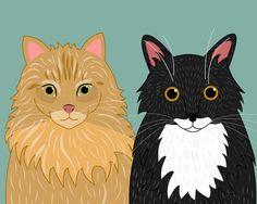 Retratos de gato. Retratos de pareja personalizado cat.