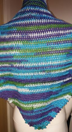 handmade multi coloured mesh stitch shawl by CraftychloeBoutique on Etsy Handmade Shop, Etsy Handmade, Handmade Items, Knitted Baby Cardigan, Knitted Hats, Yarn Sizes, Green Girl, Crochet Slippers, Etsy Uk