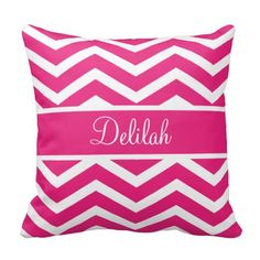 Shop Hot Pink Chevron Custom Name Throw Pillow created by PipSweet.