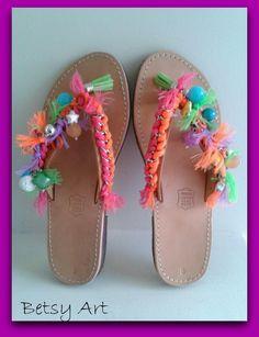 Greek leather sandalscolorful leather sandals summer by betsyarts, Boho Sandals, Bare Foot Sandals, Fashion Sandals, Leather Sandals, Summer Sandals, Flip Flop Craft, Decorating Flip Flops, Kids Slippers, Shoe Crafts