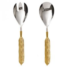Set of Two Feather Salad Servers