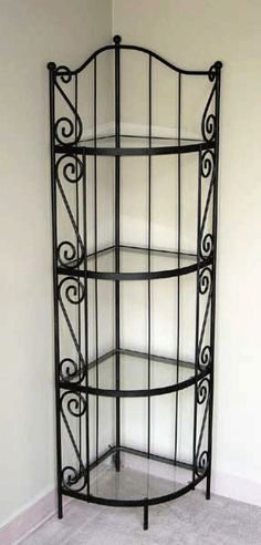 Corner backer's rack - put dishes on display in dining area rather than in kitchen cabinets (space saver in small kitchen! Iron Furniture, Steel Furniture, Contemporary Decor, Modern Decor, Plafond Design, Wrought Iron Decor, Interior Design Boards, Interior Paint, House Plants Decor