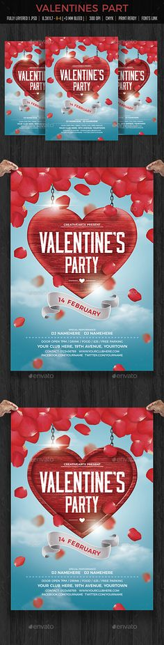 Valentines Party Flyer — Photoshop PSD #event #valentines day • Available here → https://graphicriver.net/item/valentines-party-flyer/19233659?ref=pxcr