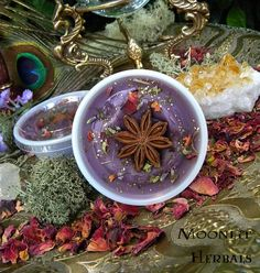 Magickal Melts made with all-natural Soy Wax, Herbs, Flowers, Gemstones and the highest quality Essential, Essence and Fragrance Oils. Burn in a tart warmer.