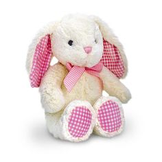 Floral rabbit ballerina pink floral and rabbit cream bunny with pink gingham easter gifteaster negle Gallery