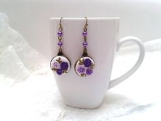 Alice, floral earrings, hand embroidered, roses, purple, boho.
