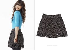 """Zooey Deschanel wore this polka dot skirt by """"I Heart Ronson"""" with diamond cutouts at the hem in season one promos for New Girl #zooeydeschanel #fashion #newgirl #jessday #polkadots http://dresslikenewgirl.com/post/56093519361/zooey-deschanel-wore-this-polka-dot-print-skirt"""
