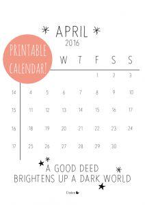 Elske printable kalender april 2016