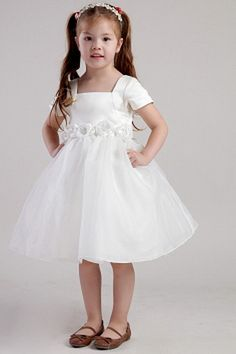Adorable A-line Square Knee-length Satin and Organza Handmade Flowers Flower Girl Dress Beauty Pageant Dresses, Little Girl Pageant Dresses, Girls Party Dress, Bridal Dresses, Girls Dresses, Bridesmaid Dresses, Party Dresses, Glitz Pageant, Tutu Dresses