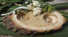 Holz Ringkissen Ringhalter Holzscheibe für Eheringe Hochzeit Liebe 16 cm