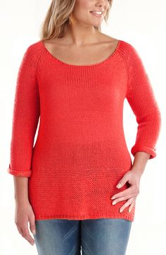 Summer knit sweater/Tangerine      Style No: T1354    Oh so soft feel  Summer knit.    This sweater has 3/4 sleeves and a scoop neckline. #fashion #plussize #2013