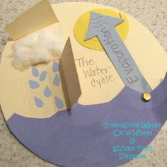 This interactive water cycle wheel provides a visual representation of the water cycle, but it also provides the tangible factors some students need. This activity addresses earth science, specifically geography. 1st Grade Science, Primary Science, Elementary Science, Science Classroom, Teaching Science, Science Education, Science For Kids, Earth Science, Elementary Schools
