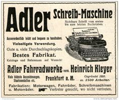 Original-Werbung/ Anzeige 1914 - ADLER SCHREIBMASCHINE / ADLER FAHRRADWERKE VORM. KLEYER FRANKFURT - ca. 90 x 75 mm