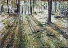 Watercolor.  Gerd Elgshøen. Lav sol og lange skygger.