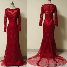 #promdress01 #promdress - Luxuary red lace long sleeves modest prom dress, ball gown, vintage occasion dress -> www.promdress01.c... #coniefox #2016prom