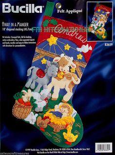 "Bucilla Away in a Manger ~ 18"" Felt Christmas Stocking Kit #83659 Jesus Nativity"