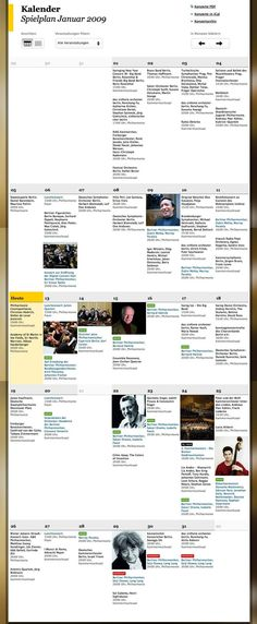 The german Berliner Philharmoniker website has a very nicely designed concert calendar.