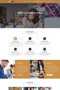 PROT – Creative Agency PSD TemplatePROT - Multipurpose Agency & Business Template is unique and modern PSD template. This is a clean and modern template with About Us Page Design, Page Layout Design, Website Design Layout, Web Layout, Website Design Inspiration, Design Ideas, Education Website Templates, Pag Web, Webdesign Layouts