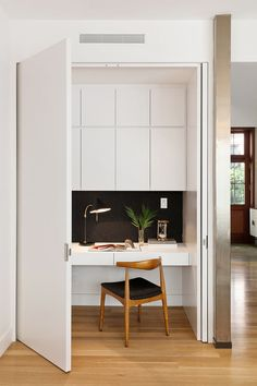 office nook in bedroom closet & office nook in bedroom - office nook in bedroom small spaces - office nook in bedroom closet - office nook in bedroom desk ideas Cool Office Space, Office Nook, Kitchen Office, Ikea Office, Office Spaces, Work Spaces, Closet Office, Office Setup, Small Office