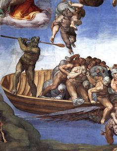 "Philippe left a coin for Diana to give to the ferryman.  ""'So Philippe does expect me to return his coin.'  He would be sitting on the banks of the river Styx waiting for Charon's boat to bring me across"".  Picture: a portion of the Sistine Chapel / Michaelangelo's The Last Judgement featuring Charon."