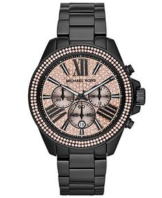 Michael Kors Women's Chronograph Wren Black-Tone Stainless Steel Bracelet Watch 42mm MK5879 - Watches - Jewelry & Watches - Macy's